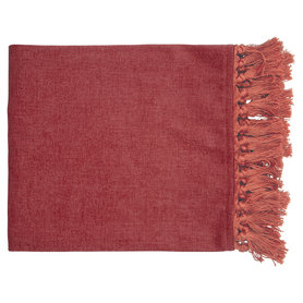 GreenGate Woondeken Fluweel / Velvet Blanket dusty red w/fringes 180x130cm