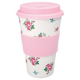 GreenGate Bamboo Reisbeker / Travel mug Constance White H:9,5cm