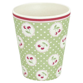 GreenGate Bamboo Cup Cherry berry p.green H: 9,5cm