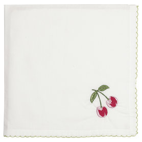 GreenGate Cotton Napkin Cherry red w/embroidery 40x40cm