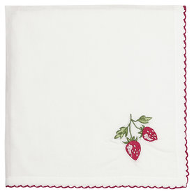 GreenGate Cotton Napkin Strawberry red w/embroidery 40x40cm