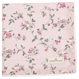 GreenGate Cotton Napkin with lace Jolie pale pink 40x40cm