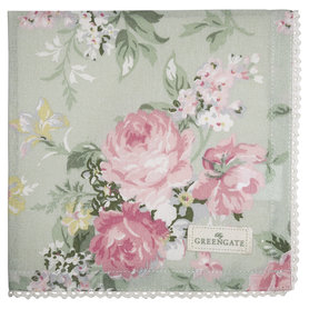 GreenGate Cotton Napkin with lace Josephine pale mint 40x40cm