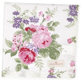 GreenGate Cotton Napkin with lace Rose White 40x40cm