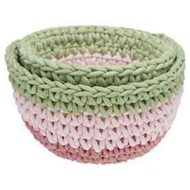 GreenGate Knitted Storage basket multicolour set of 2 assorted