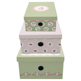 GreenGate Storage box Mary white set of 3 assorted