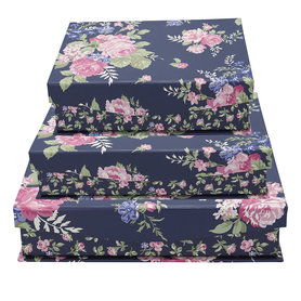 GreenGate Storage box Rose Dark Blue set of 3 assorted