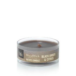 WoodWick Black Amber & Citrus Petit Travel Candle