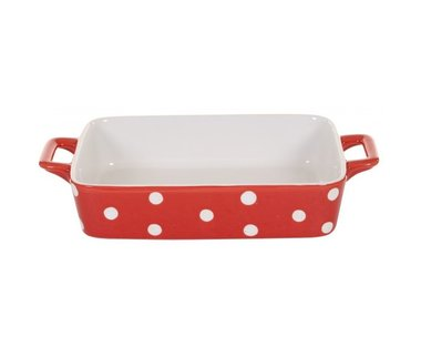 Isabelle Rose Ovenschaal Rood Polkadot Small 29,5*17*5 cm