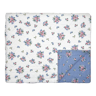GreenGate Quilt / Bed cover Nicoline dusty Blue 250x260cm