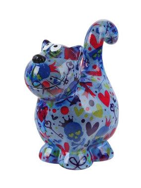 Pomme-Pidou Spaarpot Cat Dorothy Blauw Doodshoofd