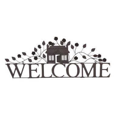 Clayre&Eef | Welkom hanger decoratie Ijzer | 70*28 cm | Bruin