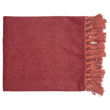 GreenGate Woondeken Fluweel / Velvet Blanket dusty red w/fringes 180x130cm
