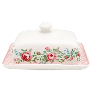GreenGate Botervloot-Butter Box Square Gabby white H:8cm