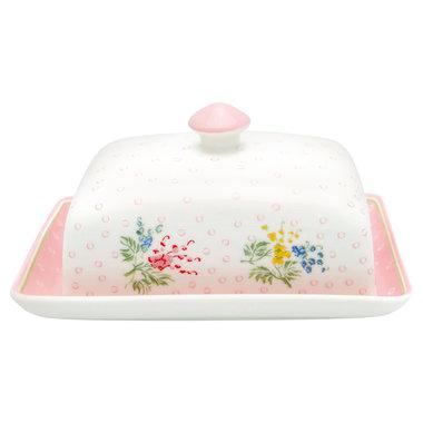 GreenGate Botervloot-Butter Box Square Mira white H:8cm