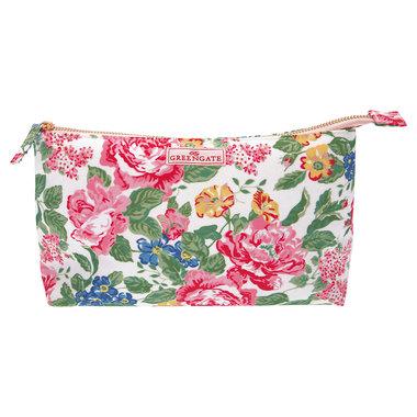 GreenGate Toilettas / Cosmetic bag Emmaline White Large 15x26cm