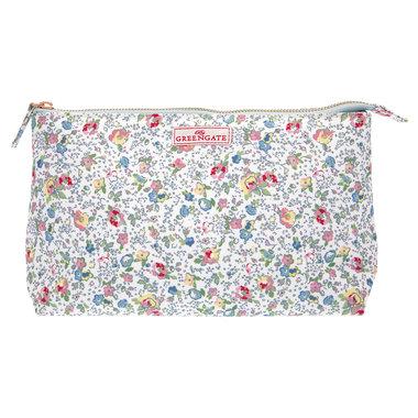GreenGate Toilettas / Cosmetic bag Vivianne White Large 15x26cm