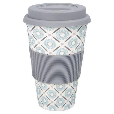 GreenGate Bamboo Reisbeker / Travel mug Alva White H:9,5cm