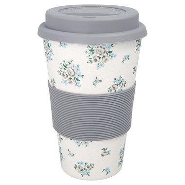 GreenGate Bamboo Reisbeker / Travel mug Nicoline Beige H:9,5cm