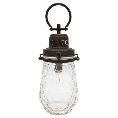 GreenGate Metalen Buitenlamp / Metal Lamp Check clear w/handle H:33cm