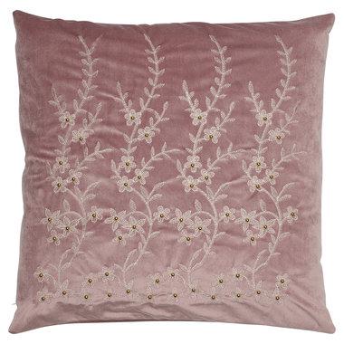GreenGate Velvet Cushion Flower lavendar w/gold 50x50cm