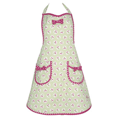 GreenGate Apron Cherry berry p.green w/bow