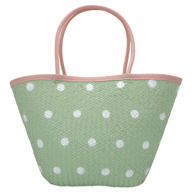 GreenGate Basket bag Spot pale green