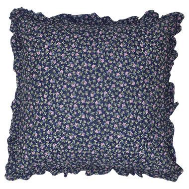 GreenGate Cushion Cover Berta dark blue w/frill 50x50cm