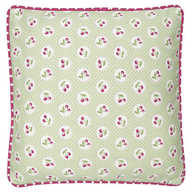 GreenGate Cushion Cover Cherry berry p.green 40x40cm