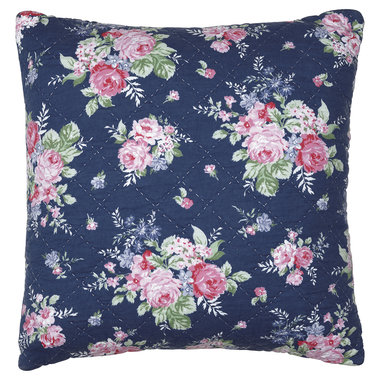 GreenGate Quilted Cushion Cover Rose dark blue 50x50cm