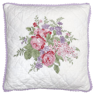 GreenGate Quilted Cushion Cover Rose white w/embroidery 40x40cm