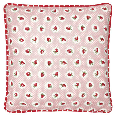 GreenGate Cushion Cover Strawberry pale pink 40x40cm