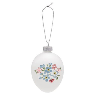 GreenGate Egg Ornament Hanging Meryl White H: 9cm