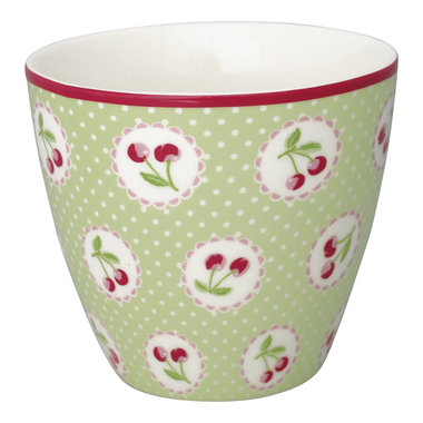 GreenGate Stoneware Latte Cup Cherry Berry Pale Green H: 9 cm