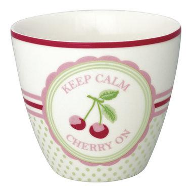 GreenGate Stoneware Latte Cup Cherry Mega White H: 9cm