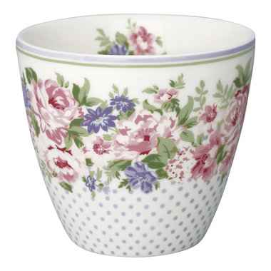 GreenGate Stoneware Latte Cup Rose White H: 9cm