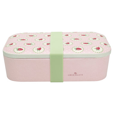 GreenGate Bamboo Lunch box Strawberry Pale Pink 6,5x12,8x19,6cm