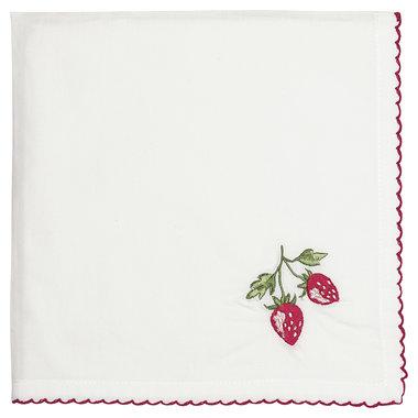 GreenGate Cotton Napkin Strawberry red w/embroidery 40x40cm