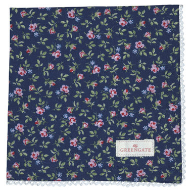 GreenGate Cotton Napkin with lace Berta Dark Blue 40x40cm
