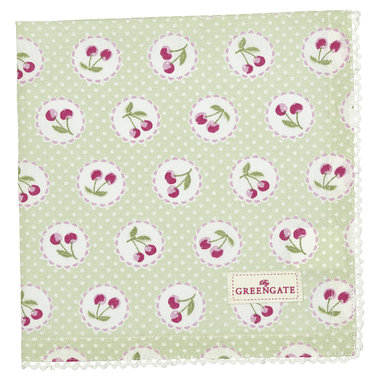 GreenGate Cotton Napkin with lace Cherry berry p.green 40x40cm