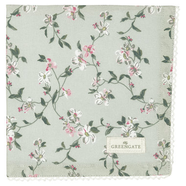 GreenGate Cotton Napkin with lace Jolie pale mint 40x40cm