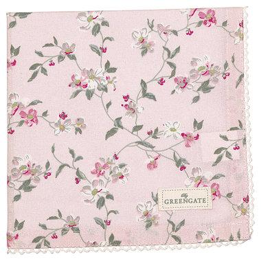 GreenGate Cotton Napkin with lace Jolie pale pink 40x40cm
