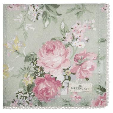 GreenGate Cotton Napkin with lace Josephine pale mint 40x40cm
