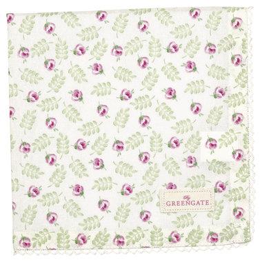 GreenGate Cotton Napkin with lace Lily Petit White 40x40cm