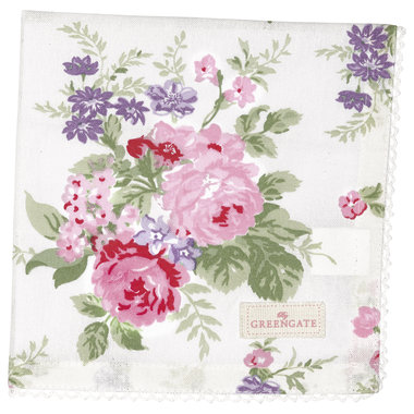 GreenGate Cotton Napkin with lace Rose White 40x40cm