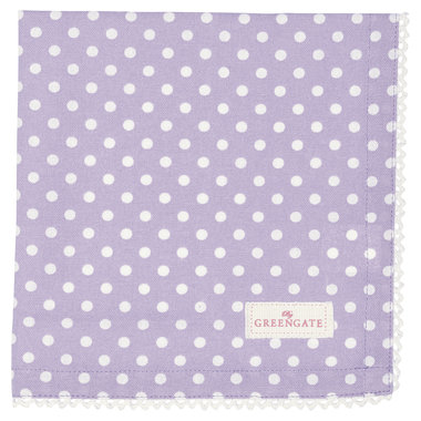 GreenGate Cotton Napkin with lace Spot Lavendar 40x40cm