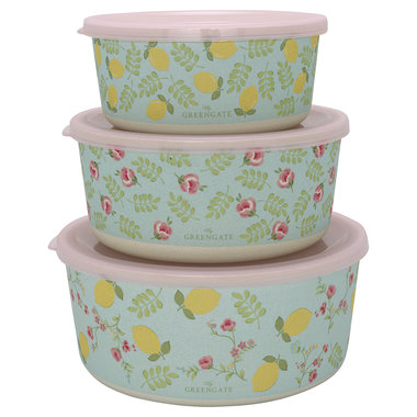 GreenGate Bamboo Round box Limona pale blue set of 3