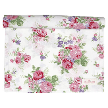 GreenGate Cotton Table runner Rose White 45x140cm