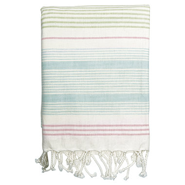 GreenGate Cotton Tablecloth Summer stripe multicolor w/frin 145x250