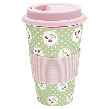 GreenGate Bamboo Travel mug Cherry berry p. green H:9,5cm